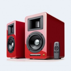 Airpulse A100 Hi-Res Audio Certified Active Speaker System Built-in Amplifier Optical, Coaxial, Bluetooth 4.1 aptX, RCA, AUX, and USB Inputs – Pair Red